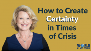 Picture of Diana Tapp with title - how to create certainty in times of crsisi
