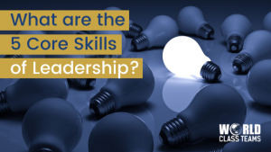 Blue Light bulbs on a table and only one is turned on - The 5 core skills of a leader