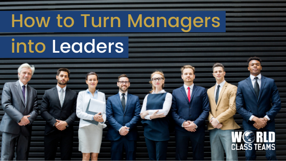 Line up of managers against a corrugated iron backdrop - how to turn managers into leaders